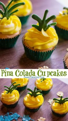 10 Most Misleading Foods That We Imagined Were Being Nutritious! These Pina Colada Cupcakes Are A Tasty Summer Treat Rum Optional Pina Colada Cupcakes Tropical Cupcakes Pineapple Cupcakes Pina Colada Cupcakes With Rum Hawaiian Cupcake Recipes Pina Colada Cupcakes, Pina Colada Rum Cake Recipe, Alcoholic Cupcakes, Hawaiian Cupcakes, Pineapple Cupcakes, Hawaiian Dessert Recipes, Summer Cupcake Recipes, Luau Desserts, Fun Cupcakes