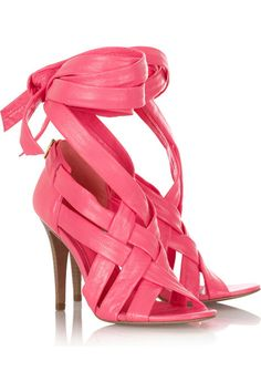 Tory Burch fuchsia Wrap Up leather sandals