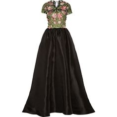 Marchesa Floral-appliquéd tulle and silk-faille gown (32,035 SAR) ❤ liked on Polyvore featuring dresses, gowns, gown, marchesa, black, silk gown, floral evening gown, floral dress, black evening gowns et black dress