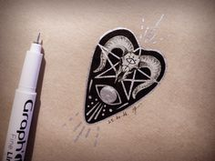 Ouija planchette sketch by Evara Hargreaves.