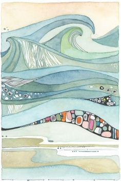 Sea of Love by Designer Shell Rummel ©Michelle Rummel Shell Drawing, Painting & Drawing, Watercolor Sea, Watercolor Paintings, Abstract Watercolor Art, Landscape Art, Landscape Paintings, Tinta China, Guache