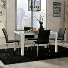 Martina Modern Glass Top Extension Table Set with 4 Black Chairs by Ashley Furniture - Beck's Furniture - Dining 5 Piece Set Sacramento, Rancho Cordova, Roseville, California Dining Furniture, Dining Chairs, Dining Table, Tempered Glass Table Top, Extension Table, Table And Chair Sets, Dining Room Sets, Modern Table, Side Chairs