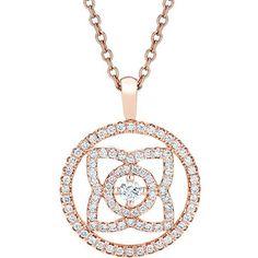 DE BEERS Enchanted Lotus 18ct pink gold and diamond reversible pendant (2'730 CHF) ❤ liked on Polyvore featuring jewelry, pendants, diamond flower pendant, rose gold jewelry, rose gold pendant, charm pendant and diamond jewellery