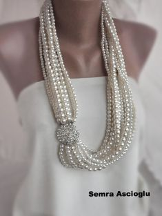 Handmade Weddings Multistrand Pearl Necklace  by HMbySemraAscioglu, $158.00