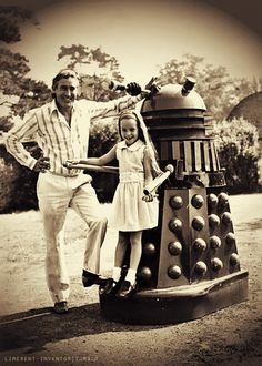 Terry Nation (creator of the Daleks) and his daughter.