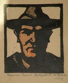 ✨ Max Sparer, Austrian-Italian (South Tyrolian) (1886-1968) - Sarner Bauer, 1955 Farb-Holzschnitt, 25 x 32 cm ::: Farmer from Val Sarentino, colour woodcut