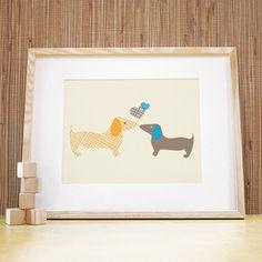 Doggie Love, Blue/Grey by Trendy Peas