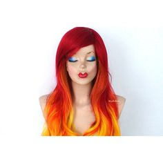 Ombre Wig Red Yellow Ombre Long Wavy Hair Long Side Bangs Durable Heat... ($140) ❤ liked on Polyvore featuring beauty products, haircare, hair styling tools, wigs, bath & beauty, grey and hair care