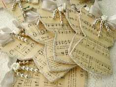 Sheet music, trim, bead garland, bows