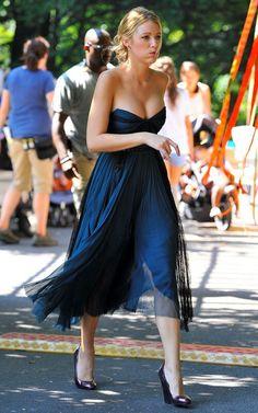 Blake Lively in flowy blue dress
