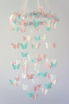 Pink & Aqua Nursery Butterfly Mobile Nursery by LoveBugLullabies