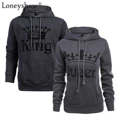 Autumn Winter Knitted King Queen Letter Printed Couple Hoodies Hip Hop Street Wear Sweatshirts Women Hooded Pullover Tracksuits