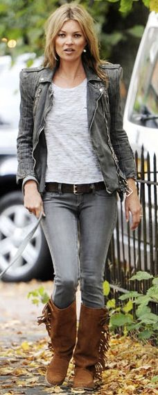 grey leather grey skinnies & suede boots.