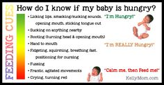 """""""Common infant early hunger cues include: Smacking or licking lips Opening and closing mouth and Sucking on lips tongue hands fingers toes toys or clothing"""" Breastfeeding Holds, Baby Monat Für Monat, Lactation Consultant, Gentle Parenting, Newborn Care, What Can I Do, Baby Hacks, Baby Tips, Baby Feeding"""