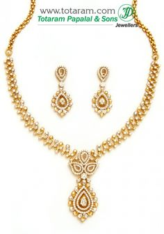 Check out the deal on 18K Gold Diamond Necklace & Drop Earrings Set at Totaram Jewelers: Buy Indian Gold jewelry & 18K Diamond jewelry