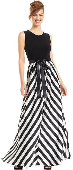 Betsy & Adam Sleeveless Floral-Print Gown - Dresses - Women ...