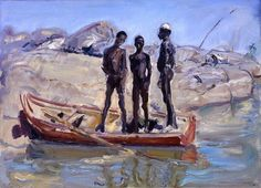 Max Slevogt - Drei Sudanesen im Kahn (1914)
