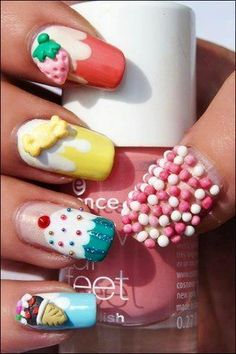 Kawaii nails (sprinkles, strawberry, candy, cupcake, and ice cream) Yummy!
