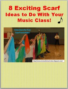 Stucki's Music Class: 8 Exciting Scarf Ideas to Do With Your Music Class! Preschool Music Activities, Music Education Activities, Kindergarten Music, Teaching Music, Movement Activities, Music For Toddlers, Music Lessons For Kids, Music Lesson Plans, Parachute Games For Kids