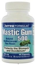 Mastic Gum treatment for h-pylori.. Mastic Gum Capsules Natural and safe for stomach relief, and it inhibits growth of H. pylori and acts as antibiotic. Historically used for more than 2500 years. Supports gastrointestinal and oral health* Provides antioxidants and additional beneficial nutrients. Studies have shown negative stool tests from H. pylori patients on a treatment of Mastic Gum for as little as two weeks, but recommended dosage is usually a minimum of 30 days.