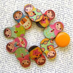 Russian Matryoshka Doll Wooden Button Bracelet  by XOHandworks