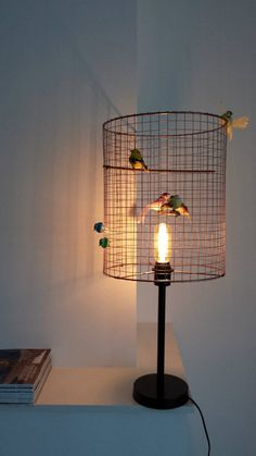 Bird lamp standing copper