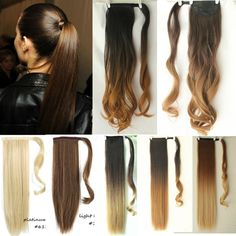 Amazing Long Soft Dip Dye Ombre Wrap Around Ponytail Clip in Hair Extensions  Dip  5efa6c9e7cc7