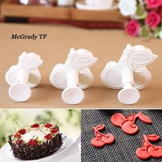 3pcs Promotion Cherry Shape Plunger Cake Cutter Mold Plastic Biscuit Cookie Mould Pastry Stamp Decorating