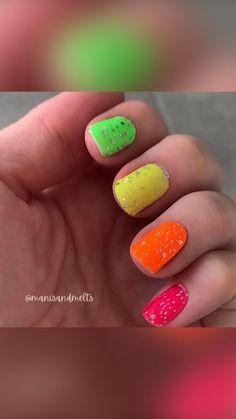 Neon Nails, Blue Nails, Glitter Nails, Orange Nails, Summer Nails, Nail Designs, Rarity, Beauty, Summery Nails