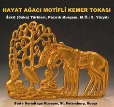 İskit (Saka) Türklerine ait Hayat Ağacı motifli altın kemer tokası.