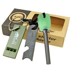 Magnesium Flint Stone Fire Starter Lighter Emergency Survival Camping Whistle Gear Kit Brand new and high qualityThis multi-tool can satisfy your different Camping Survival, Outdoor Survival, Survival Tips, Camping Glamping, Outdoor Camping, Camping Ideas, Flint Knives, Survival Fire Starter, Outdoor Tools