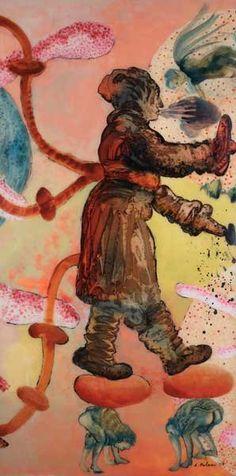 Nalini Malani, Panel 11, 2007, acrylic, ink and enamel reverse painting on acrylic sheet, 200 x 100 cm