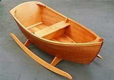 Jolly Boat Rocker - Jordan Wood Boats - Wooden boat plans and kits This BEAUTIFUL little rocker is apparently a simple project. I would modify it to be able to take out the middle seat so it could be a cradle when baby was small and then a toy later. I definitely want to tackle this once I have more experience under my belt, or work on it over a couple of weekends with my dad.