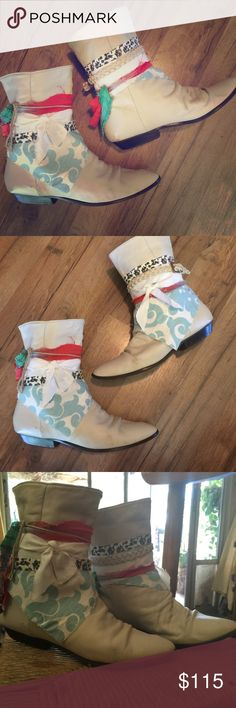 So chic gypsy boots Adorable white gypsy boots handcrafted by me, size 7.5. These boots are made to look worn and imperfect. All my boots are made using recycled vintage and new boots- hand wrapped with my crazy collection of belts and fabrics artist michelle nicole Shoes Ankle Boots & Booties