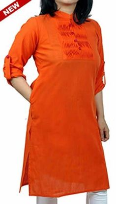 Tangy Orange Corporate Kurta with Roll-Up sleeves