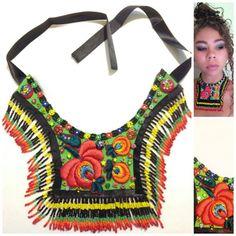 Collar bohemio de cuero, arte popular, con cuentas, gitano, colorido, declaración de moda, bordado vintage, millefiori, cristales de swarovski