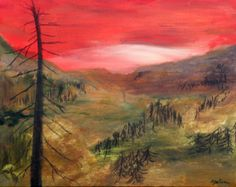 """Burned Scape is a 16x20"""" acrylic and charcoal painting on canvas. Inspired by the regrowth of a burned forest immediately after a wild fire. A vivid red sky stands above brush strokes of green and red to depict growing forest. The trees in this painting were created using charcoal from a recent burned forest.  This is an original painting on canvas at 2"""" deep. Available unframed. Ships internationally.  This painting is part of a series inspired by Wildfires."""