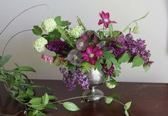 berry colored spring centerpiece by Sarah Winward.