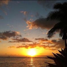 Sun setting in Hawaii