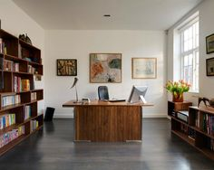 Furniture, Contemporary Home Office With Brown Cool Wooden Modern Bookshelves Also Dark Laminate Floor Color And Brown Wooden Desk With Blac...