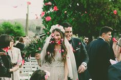 A bride wearing a sequin BHLDN gown for her boho-luxe outdoor ceremony wedding in Spain. Photography by Susana Rios.