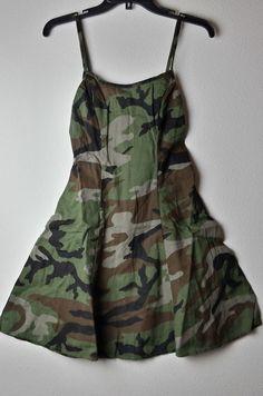 Denim & Supply Ralph Lauren Women Military Army Camo Slip Dress 8, 10 #DenimSupplyRalphLauren #Slip