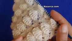 ÖRGÜ KABARIK MİDYE TARİFİ Lace Knitting, Crochet Shawl, Knitting Stitches, Crochet Baby, Knit Crochet, Knitting Designs, Knitting Projects, Knitting Patterns, Crochet Stitches