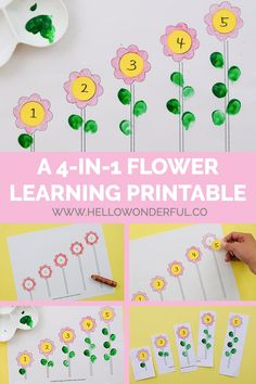 Turn color, number matching, counting and sequencing skills into a game with four fun flower activities for kids (with free printable template). Add leaves on the stems according to the numbers on the flowers with finger paint. Flower Activities For Kids, Creative Activities For Kids, Preschool Learning Activities, Free Preschool, Spring Activities, Toddler Activities, Projects For Kids, Preschool Activities, Kids Learning