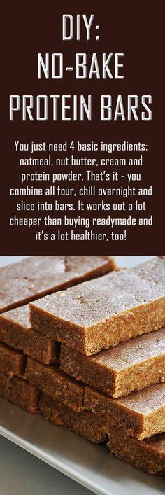 DIY: No-bake protein bars. #proteinbars #proteinbarsrecipe #protein
