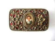 Antique Porcelain Trinket Boxes | Jewelry Box Trinket Box Antique Metal Vintage Box