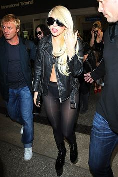 Lady Gaga arrives at Los Angeles airport in a barely there outfit on July 9th, 2012.
