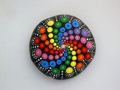 Bohemian dot art-rainbow swirl-lg mandala by RockArtiste on Etsy