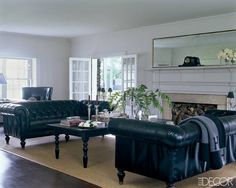 The living room sofas in the Badgley Mischka home are by Restoration Hardware, the throw is by Hermès, and the walls are painted in Modern Gray by Sherwin-Williams; the cocktail table was cut down from an antique dining table. Photo by: Roger Davies Elegant Living Room, Elegant Home Decor, Elegant Homes, Living Room Sofa, Living Spaces, Living Rooms, Living Room Inspiration, Elle Decor, Decoration