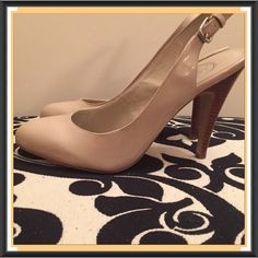 """Nude High Heels by Jessica Simpson Jessica Simpson Sling Back Nude/Flesh Patent Leather High Heels. Beautifully styled to go with any outfit! Heels 4""""H. Brand New. Never worn. Tried on at TJ Maxx. No box. No Trades, No PP. Price Firm!! Jessica Simpson Shoes Heels"""